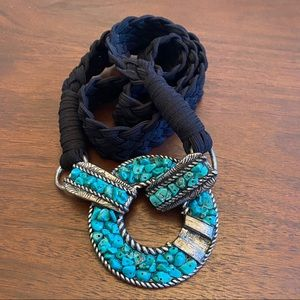 Chico's Faux Turquoise Stretch Belt Size Large
